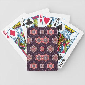 Pourpre, pêche, rose, jaune, cru floral jeux de cartes