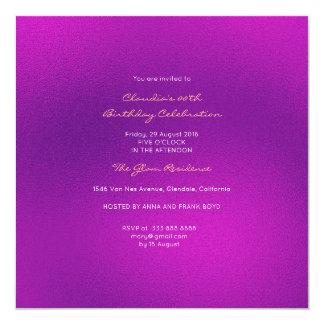 Pourpre rose lumineux en verre minimal d'améthyste carton d'invitation  13,33 cm