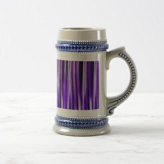 Pourpre royal, lilas et motif rayé argenté chope à bière