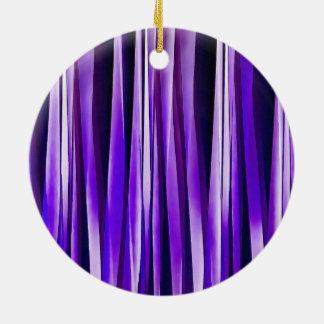 Pourpre royal, lilas et motif rayé argenté ornement rond en céramique