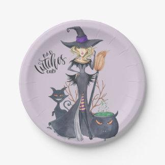 Pourpre, sorcière, Halloween Assiettes En Papier
