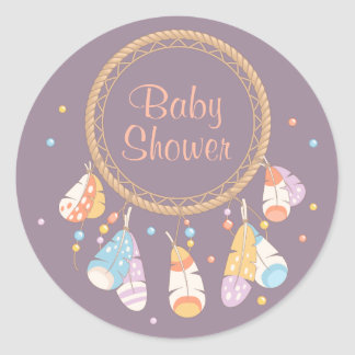 Pourpre tribal de baby shower de Dreamcatcher Boho Sticker Rond