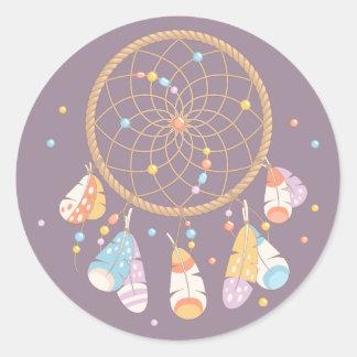 Pourpre tribal de bébé de Dreamcatcher Boho Sticker Rond