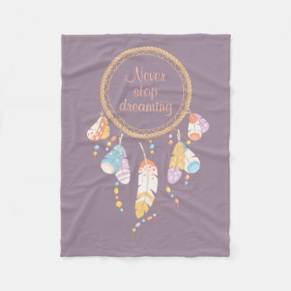 Pourpre tribal de citation de Dreamcatcher Boho Couverture Polaire