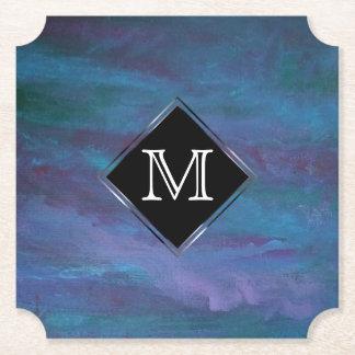 Pourpre turquoise bleu d'Ombre de monogramme Dessous-de-verre En Papier