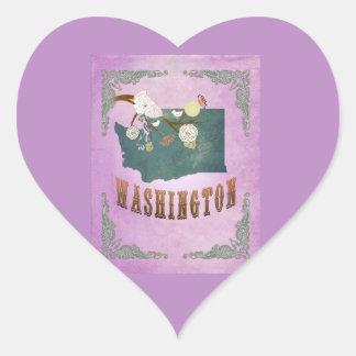 Pourpre vintage de raisin de carte de l'état de autocollant en cœur