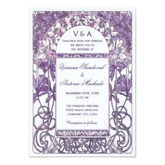 Pourpre vintage des invitations VI de mariage de Carton D'invitation 12,7 Cm X 17,78 Cm