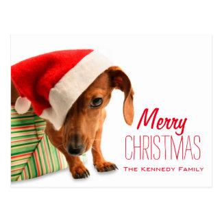 Poursuivez dans le casquette de Père Noël Carte Postale