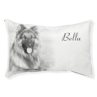 Poursuivez le lit w/image du chien et personnalisé