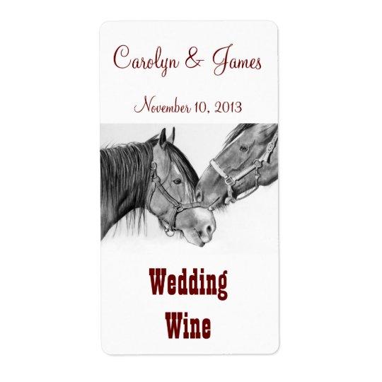 Pousser du nez de deux chevaux : Vin de mariage :  Étiquettes D'expédition