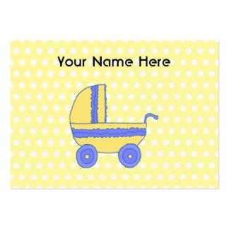 Poussette de bébé jaune et bleu carte de visite grand format