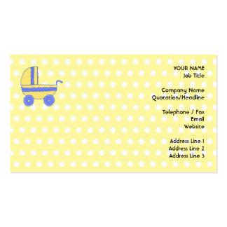Poussette de bébé jaune et bleu carte de visite standard