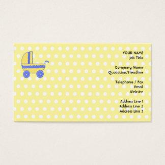 Poussette de bébé jaune et bleu cartes de visite