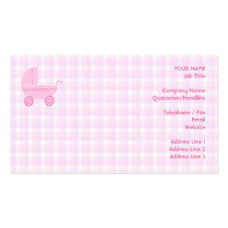 Poussette de bébé. Rose-clair sur le guingan rose Carte De Visite Standard