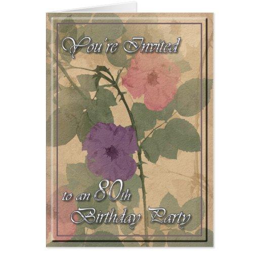 Poussiéreux antique s'est levé le quatre-vingtième cartes de vœux