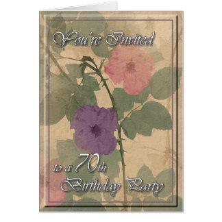 Poussiéreux antique s'est levé le soixante-dixième carte de vœux