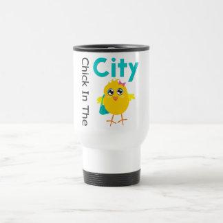 Poussin dans la ville mug de voyage en acier inoxydable