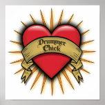 Poussin de batteur de coeur de tatouage posters