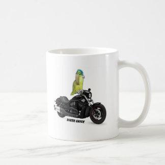 Poussin de cycliste de perroquet sur Harley Mug Blanc
