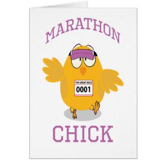 Poussin de marathon cartes de vœux