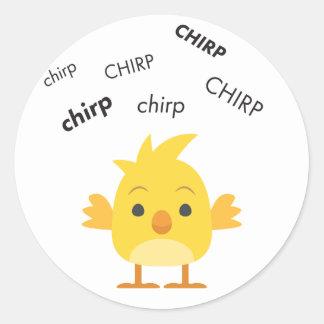Poussin Emoji mignon de bébé de gazouillement Sticker Rond