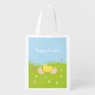 Poussin mignon heureux de bébé de Pâques Sac Réutilisable