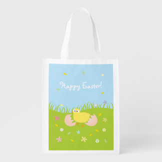 Poussin mignon heureux de bébé de Pâques Sacs D'épicerie Réutilisables