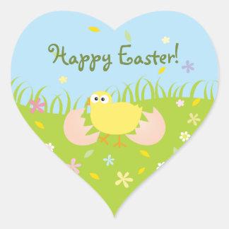 Poussin mignon heureux de bébé de Pâques Sticker Cœur