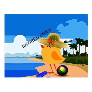 Poussin retiré - humour carte postale