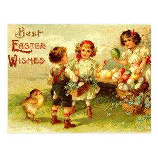 Poussins antiques d'enfants de carte postale de