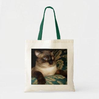 Pouty font face au sac de chat siamois