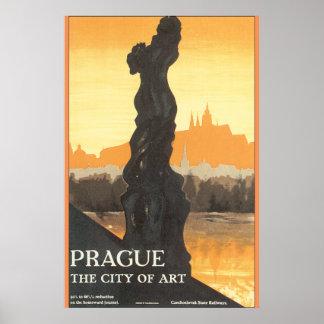 Prague la ville de l'affiche vintage de voyage poster