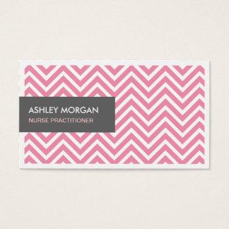 Praticienne d'infirmière - zigzag rose-clair de cartes de visite