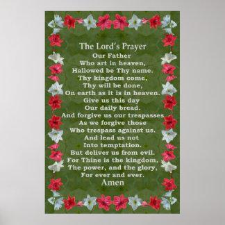 Prayer de seigneur dans un cadre d'amaryllis posters