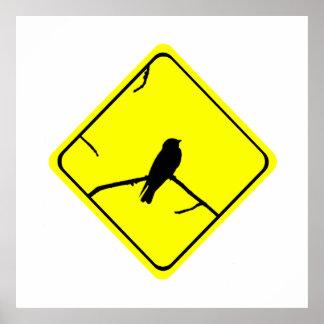 Précaution de silhouette d'oiseau d'hirondelle ou affiches