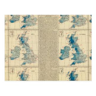 Précipitations, la température, îles britanniques carte postale