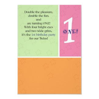 Premier anniversaire de jumeaux carton d'invitation  12,7 cm x 17,78 cm
