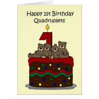 Premier anniversaire de quadruplés carte de vœux