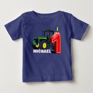 Premier anniversaire personnalisé de tracteur vert t-shirt pour bébé