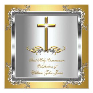 Premier argent d'or de sainte communion de garçon carton d'invitation  13,33 cm