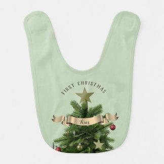 Premier bavoir de bébé d'arbre de Noël de vert