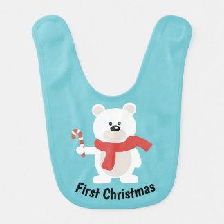 Premier bavoir d'ours blanc de Noël