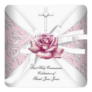 Premier blanc de rose de rose de damassé de sainte carton d'invitation  13,33 cm