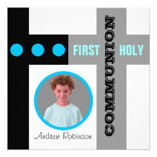 Premier bleu d invitation de sainte communion