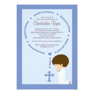 Premier bleu de garçon d'invitation de communion carton d'invitation  12,7 cm x 17,78 cm