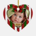 Premier cadre de la photo du bébé décorations pour sapins de noël
