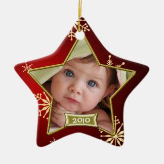 Premier cadre de photo de Noël du bébé Ornement Étoile En Céramique