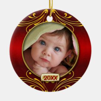 Premier cadre de photo de Noël du bébé Ornement Rond En Céramique
