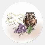 Premier calice de communion, croix, raisins adhésif rond
