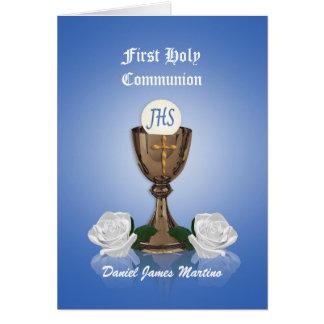 Premier calice d'invitation de communion sur le carte de vœux
